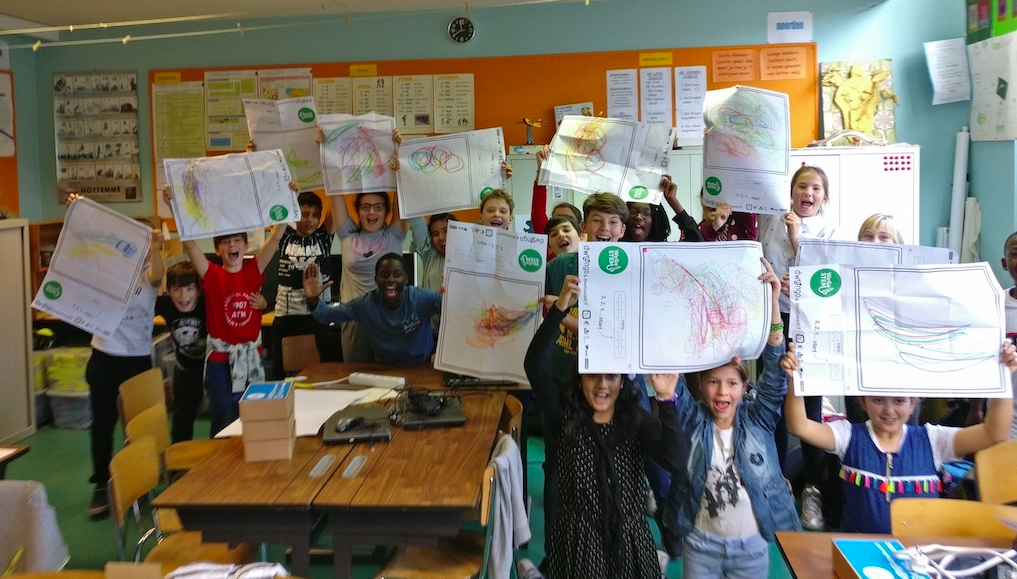 A class with all their drawings ...
